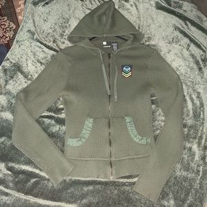 EUC L Roxy od green faux military zip up hoodie